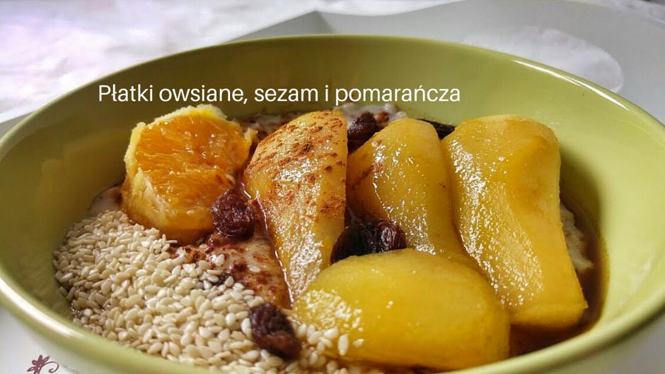 Płatki owsiane, sezam i pomarańcza